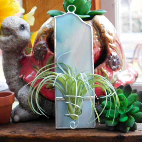 air plant vase holder in stained glass opalescent white