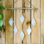 Stained Glass Diamond Pattern & driftwood wall hanging