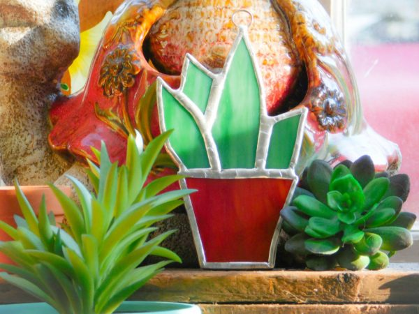 Stained glass aloe suncatcher in pot