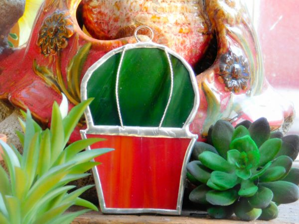 Stained Glass Cactus in a pot