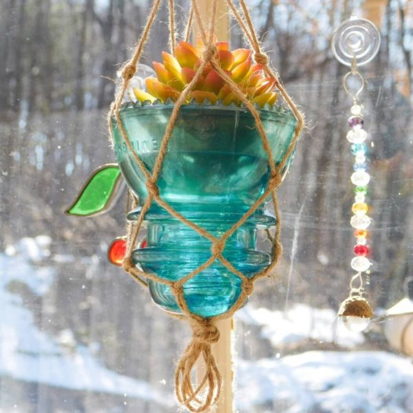 Aqua Blue Vintage Glass Macrame Hanging Insulator