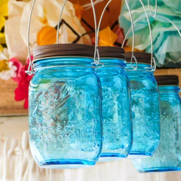 Aqua blue mason jar hanging lanterns by Mountain Woman Products