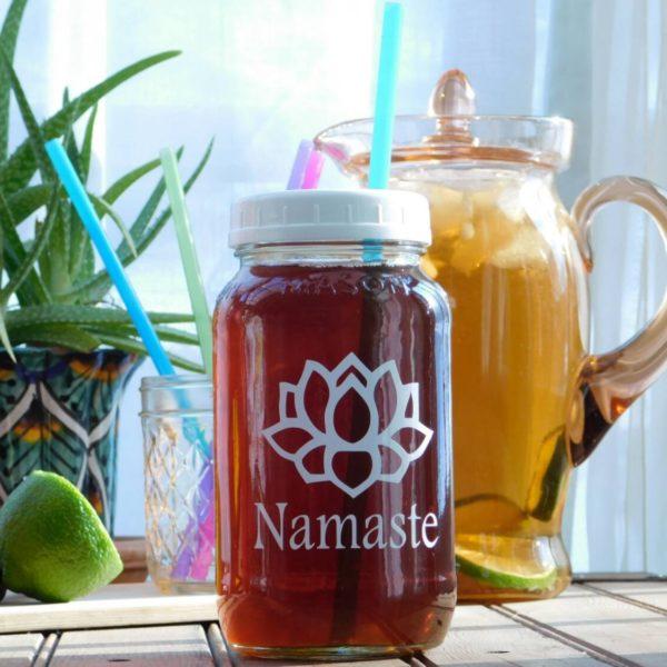 Namaste Lotus Flower Mason Drinking Jar