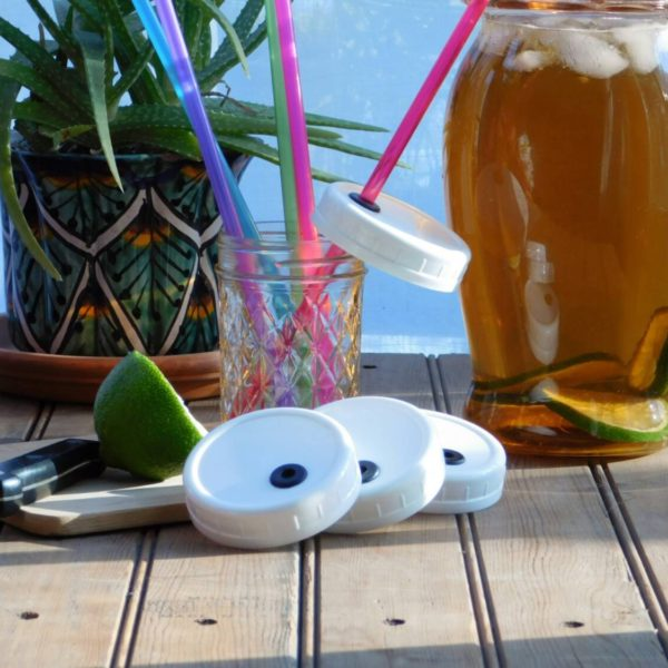 Small mouth mason jar lids and straws